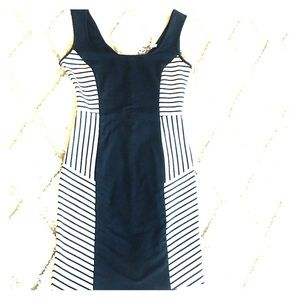 Zara Basic dark blue and off white stripes dress💕